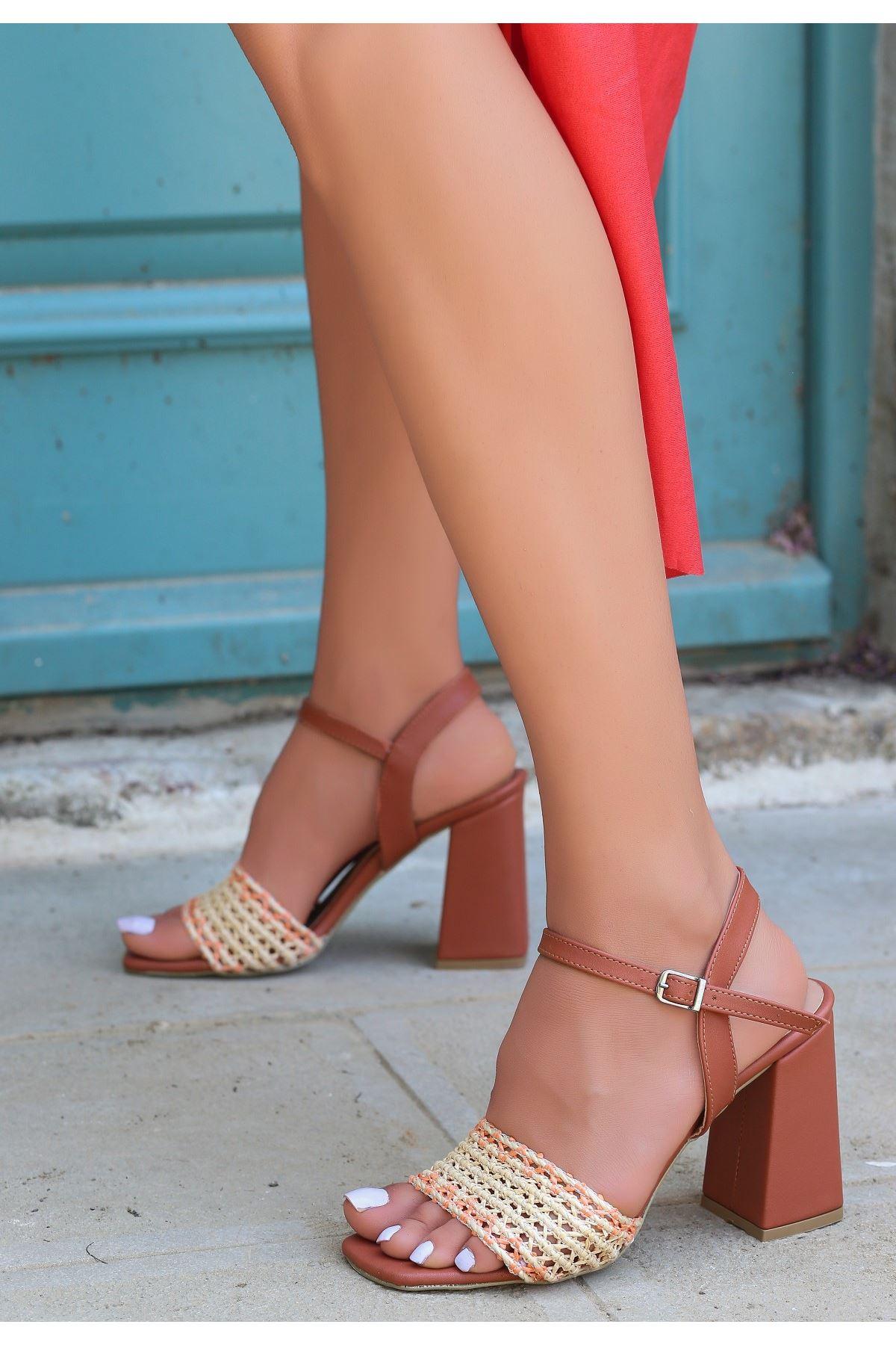 Sesto Taba Cilt Örgülü Topuklu Ayakkabı