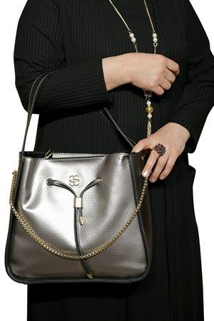 Kadın Gri Çanta Askılı Zincir Detay