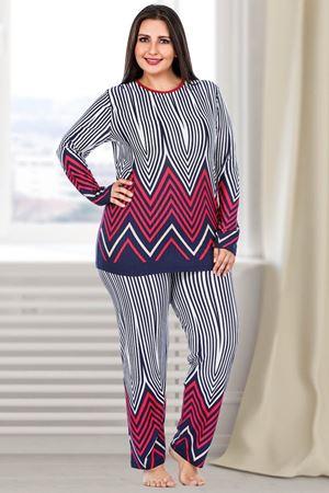 Kadın Lacivert Büyük Beden Pijama Takım Uzun Kol Çizgili Desen