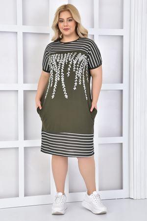 Kadın Haki Büyük Beden Elbise Taşlı Çizgili