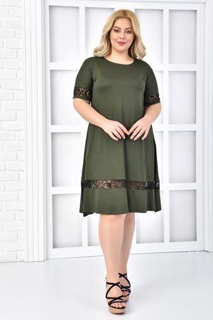 Kadın Haki Büyük Beden Elbise Flok Baskı