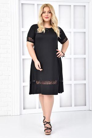 Kadın Siyah Büyük Beden Elbise Flok Baskı