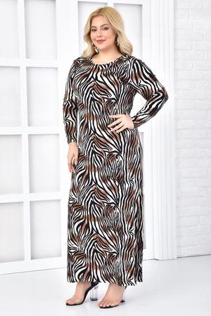 Kadın Siyah Büyük Beden Elbise Likra'lı Zebra Desen