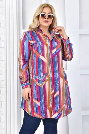 Kadın Fuşya Büyük Beden Tunik Gömlek Renkli Desen