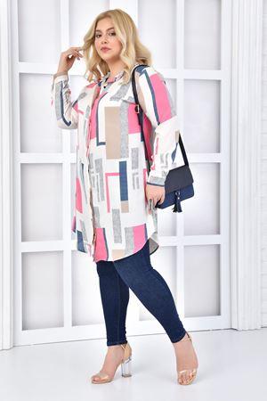 Kadın Beyaz Büyük Beden Tunik Gömlek Renkli Desen