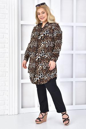 Kadın Siyah Büyük Beden Tunik Gömlek Leopar