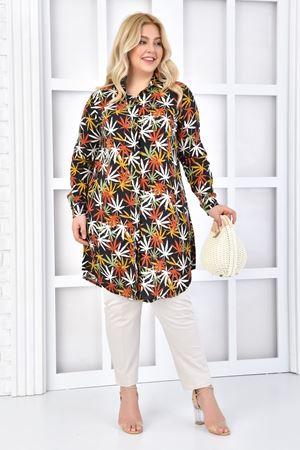 Kadın Siyah Büyük beden Tunik Gömlek Çiçekli