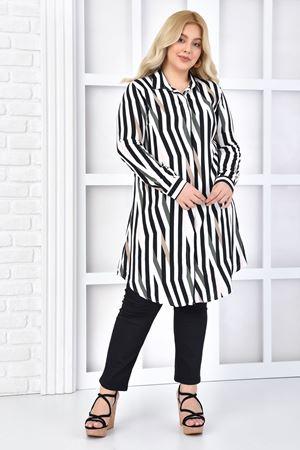 Kadın Beyaz Büyük Beden Tunik Gömlek Çizgili