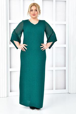 Kadın Yeşil Büyük beden Abiye Salaş Kol Uzun Pırıltılı