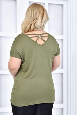 Kadın Yeşil Büyük Beden Tshirt Sırt Dekolte'li Halka