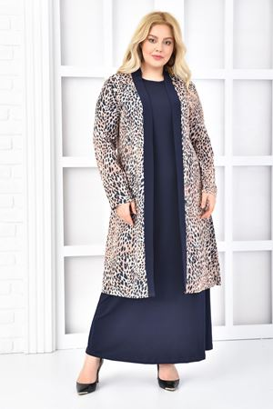 Kadın Lacivert Büyük Beden Elbise 2'li Takım Leopar
