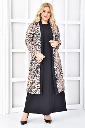 Kadın Siyah Büyük Beden Elbise 2'li Takım Leopar Desen