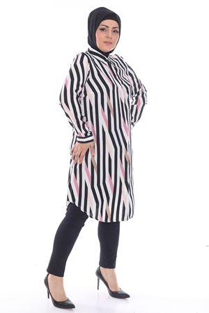Kadın Pudra Büyük Beden Tunik Gömlek