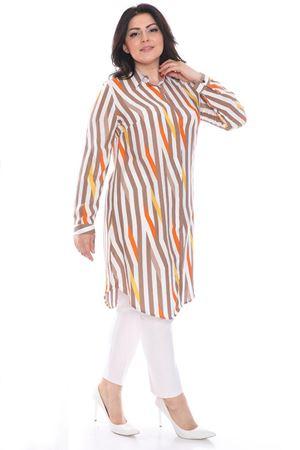 Kadın Kiremit Büyük Beden Tunik Gömlek