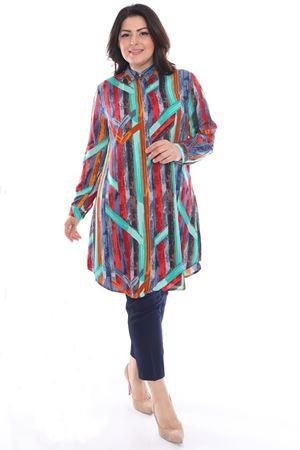 Kadın Turkuaz Büyük Beden Tunik Gömlek Renkli Desen