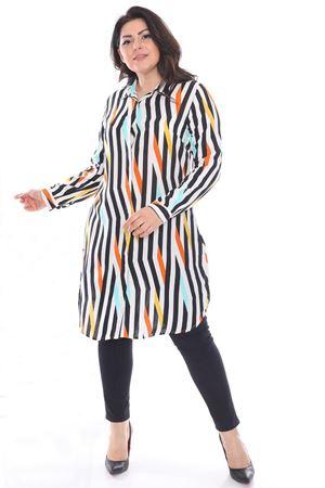Kadın Kiremit Büyük Beden Tunik Gömlek Çizgili