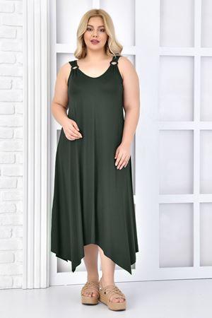 Kadın Haki Büyük Beden Askılı Elbise Tokalı