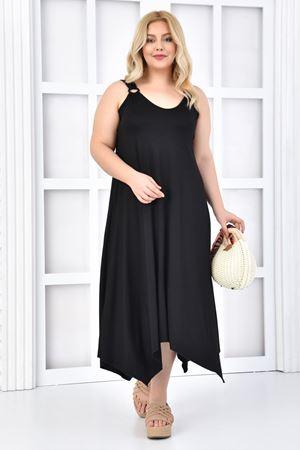 Kadın Siyah Büyük Beden Askılı Elbise Tokalı