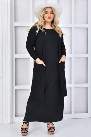 Kadın Siyah Büyük Beden Elbise Takım Yelekli