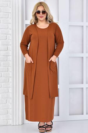 Kadın Kiremit Büyük Beden Elbise Takım Yelekli