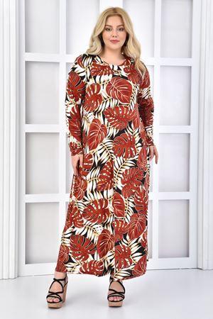 Kadın Kiremit Büyük Beden Elbise Uzun