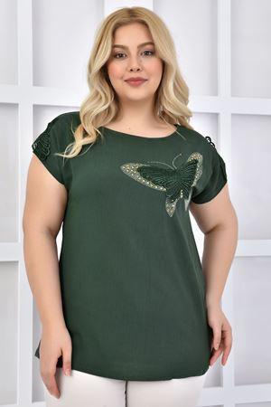 Kadın Haki Büyük Beden Tshirt Kelebek