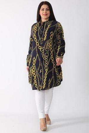 Fupe Büyük Beden Tunik Gömlek Siyah Kadın Düğmeli Zincir Desen
