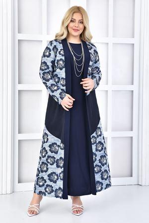 Fupe Büyük Beden Elbise Lacivert Kadın Takım File Çiçek Desen