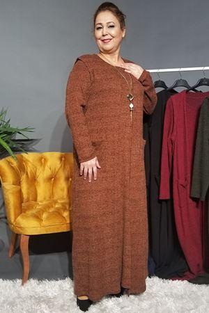Fupe Büyük Beden Elbise Takım Kadın Kiremit Triko Desen