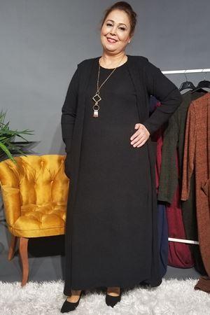 Fupe Büyük Beden Elbise Takım Kadın Siyah Triko Desen